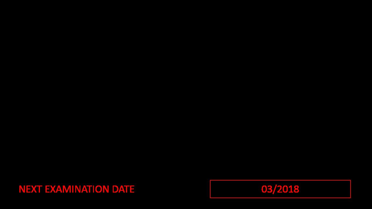 """Targhetta CSC '72 con indicazione """"Next Examination Date"""""""