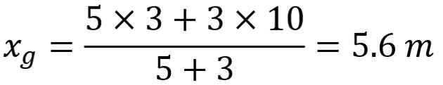 Calcolo della posizione del baricentro per due elementi