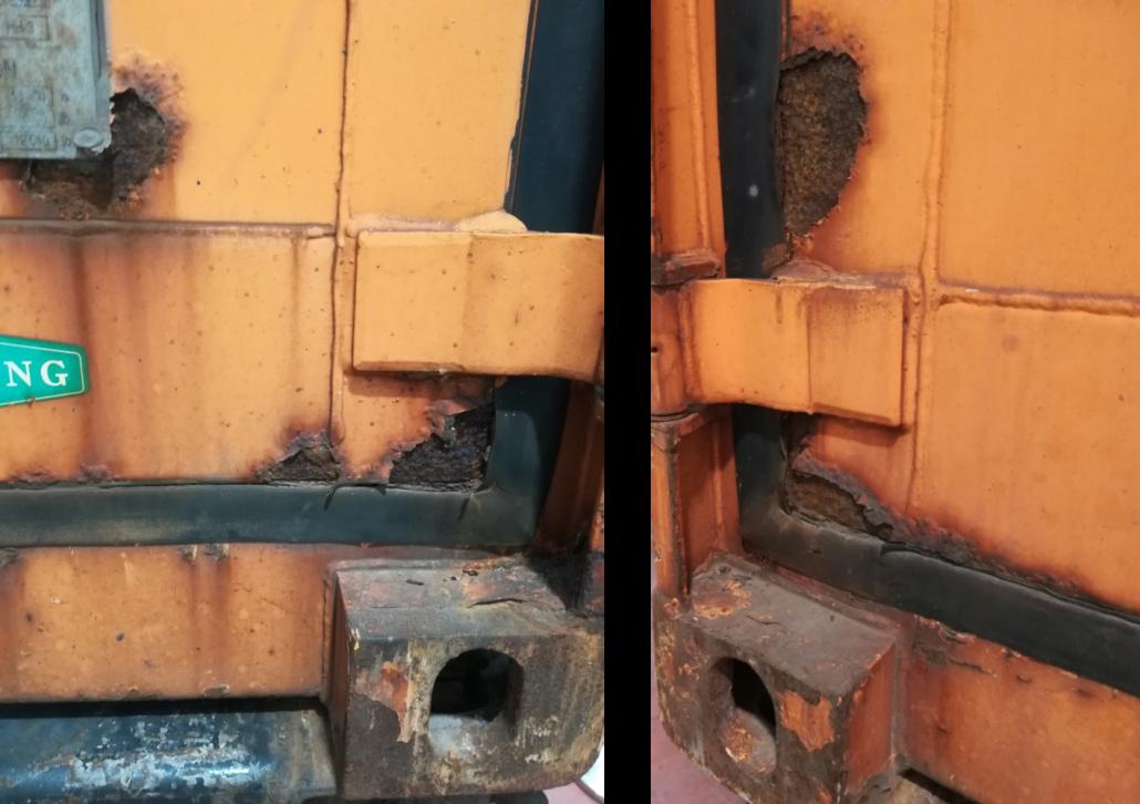 Tracce di corrosione sulle pareti del container