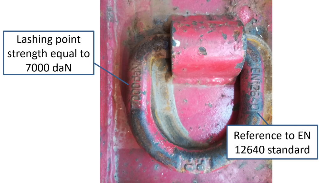 Lashing point approved according to EN 12640 standard